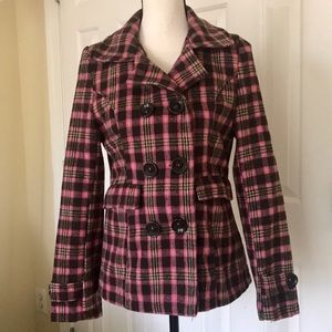 PINK & BROWN DOUBLE BREASTED PLAID PEA COAT